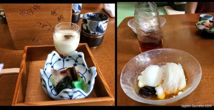 Comida japonesa en el restaurante de Kawadoko. Kibune (Kioto)