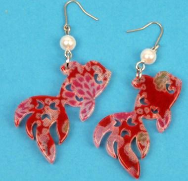 Boucles d'oreilles Grand poisson rouge