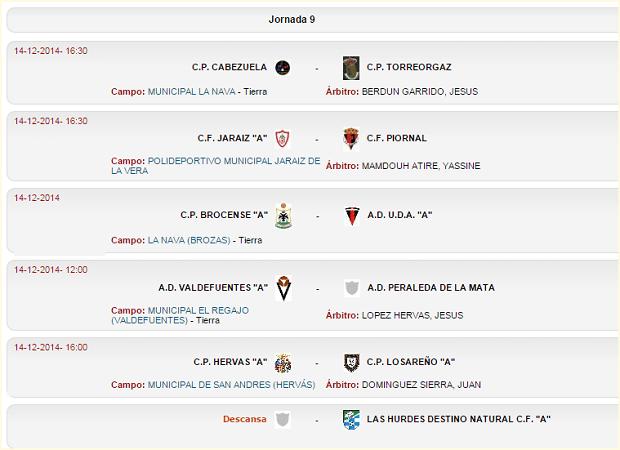 Jornada 9 - Primera Regional Grupo IV