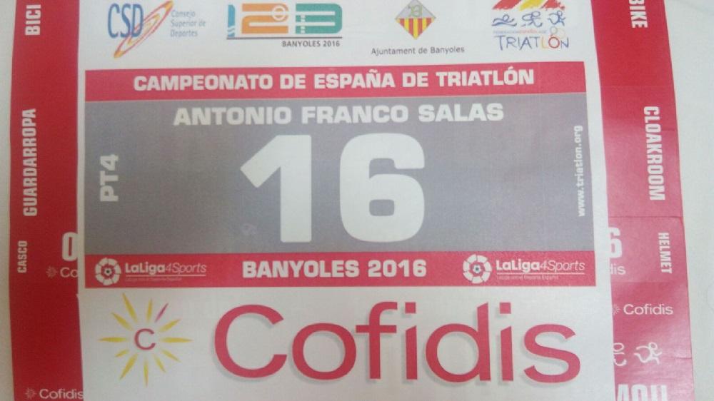 Dorsal oficial de Toni Franco - Campeonato de España de Triatlón Banyoles