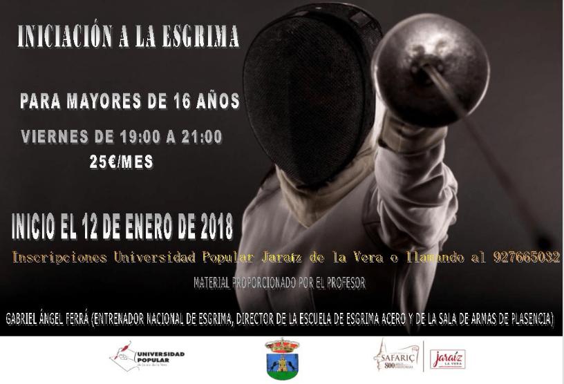 Iniciación a la Esgrima, a partir de enero del 2018