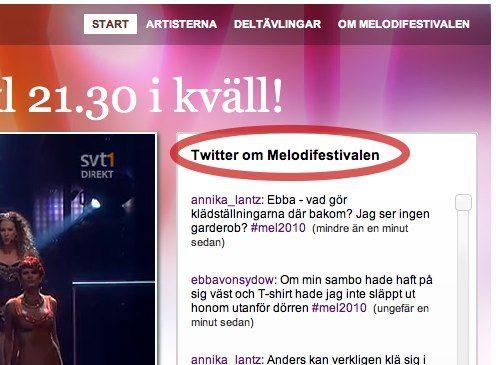 SVT, Melodifestivalen och Twitter