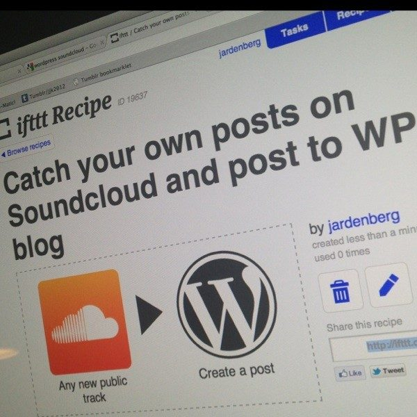 Demo av soundcloud till WP via ifttt.com at Mindpark