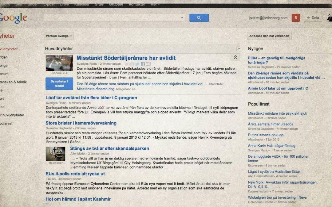 Fakta om Google News och medierna