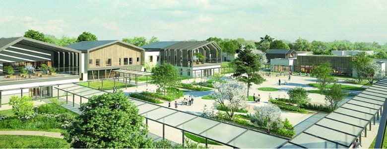 La place du village, une place jardin au cœur de l' hôpital psychiatrique du Valmont