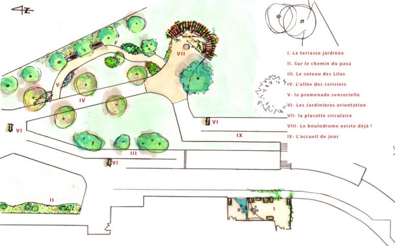 le plan du jardin sensoriel et thérapeutique de l' ehpad de la Pacaudière
