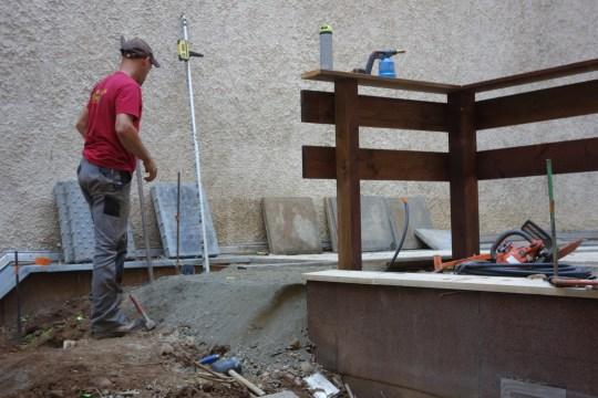 Photo du chantier : réalisation de l'escalier
