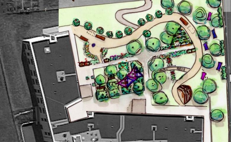 """Esquisse d'aménagement d'un jardin thérapeutique pour le Foyer d'Accueil médicalisé """"Les Terrasses de Lentilly"""""""