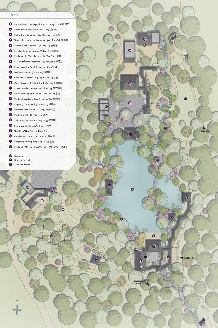 Carte du jardin chinois montrant les pavillons et attraits