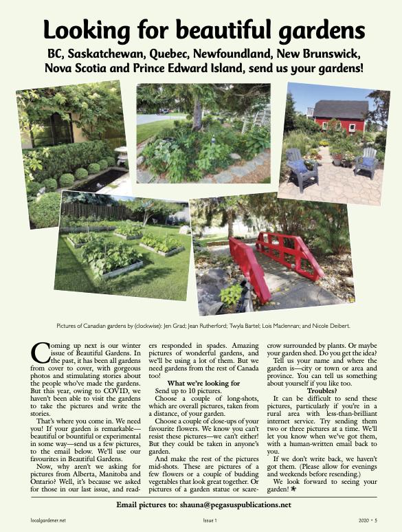Article tiré de la revue: Looking for beautiful gardens.