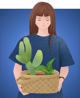 Femme tenant un panier de plantes d'intérieur