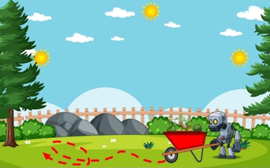 Robot qui pousse une brouette rouge sur un gazon, suivant le mouvement du sol. Trois soleils dans le ciel.
