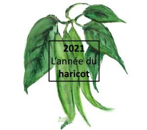 Illustration de haricots verts avec leurs feuilles, avec la mention 2021: année du haricot commun