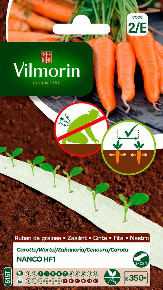 Sachet de rugban de semences de carottes de marque Vilmorin.