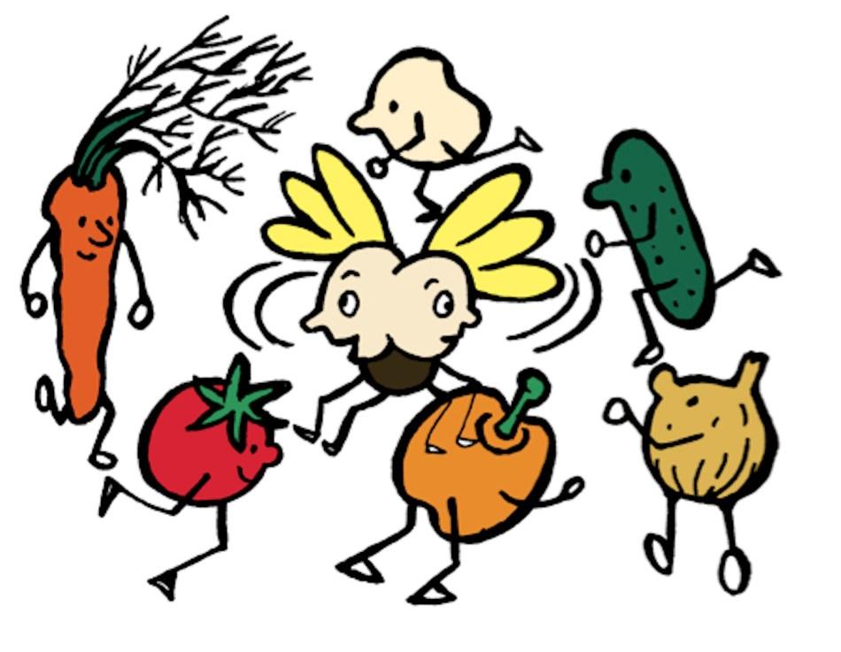 Illustration montrant des légumes qui tournent autour d'un insecte confuse par cette rotation.