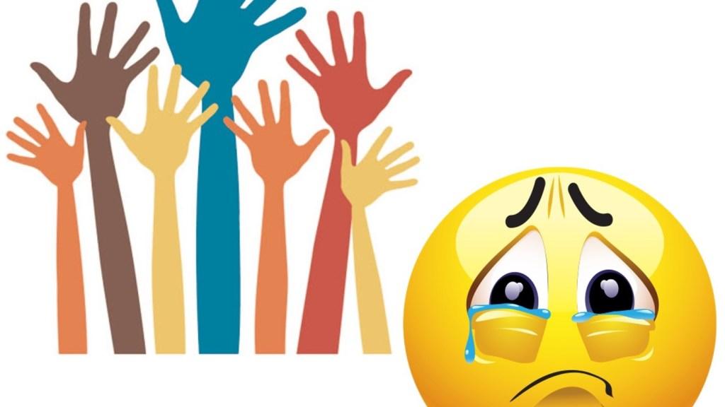 Mains levées pour poser une question, émoji tristes parce qu'il ne peut par répondre.