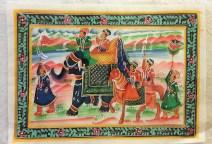Pitchway peint à la main sur tissu représentatif de scène indienne, INDE - Dimension : 22 cm x 31 cm - Prix de vente : 17€.