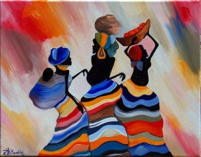 """""""African Villagers"""" 18"""" x 14"""" Part of the Noise Collection"""