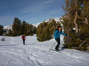Two women cross-country skiing in the mountains