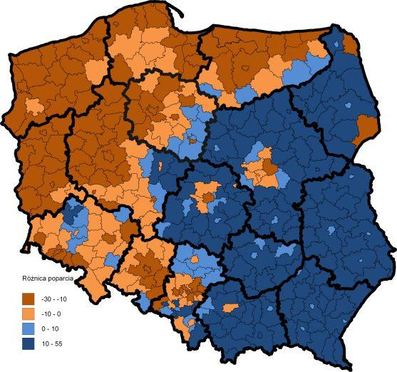 2015p różnica w powiatach