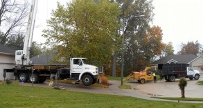 The wood chipper was positioned at the entrance of the driveway of our neighbor.