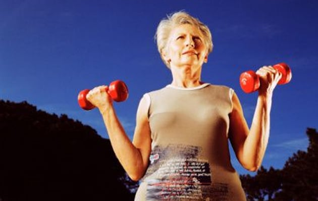 old woman exercising