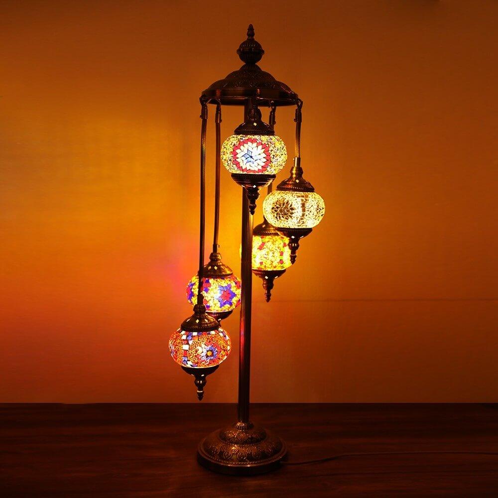 floor lamp 5 large globes turkish moroccan style mosaic multicolour light