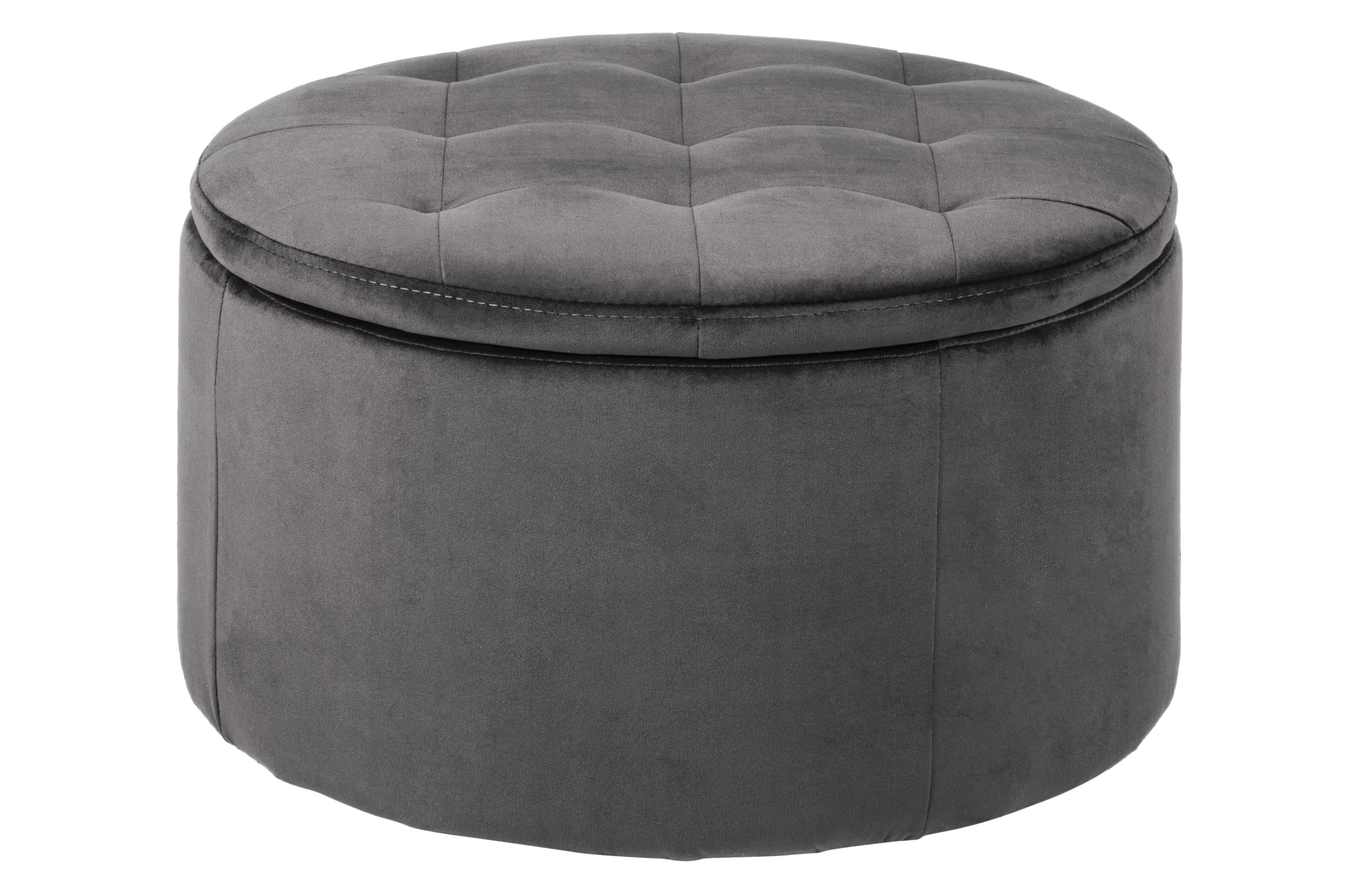 ronde round velvet storage ottoman in dark grey jarrold norwich