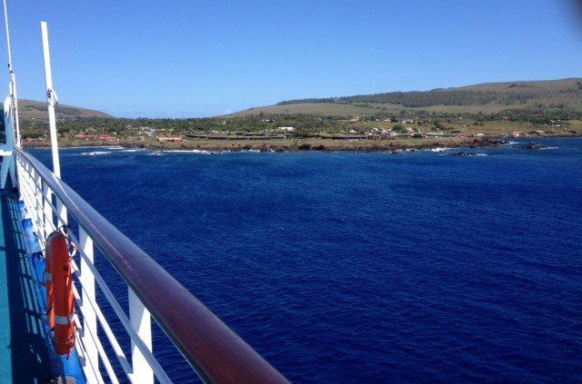 cruising into Rapa Nui on Pacific Princess