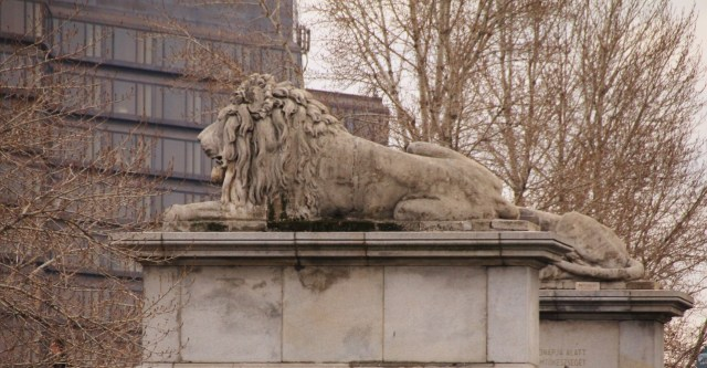 Lions guard the entrance to the Chain Bridge