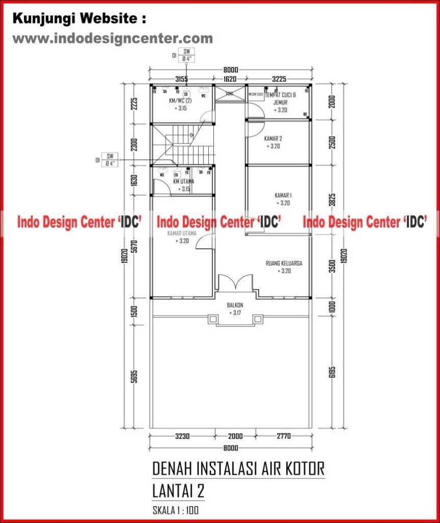 018 Denah Instalasi Air Kotor Lantai 2 Jasa Desain Rumah Jakarta