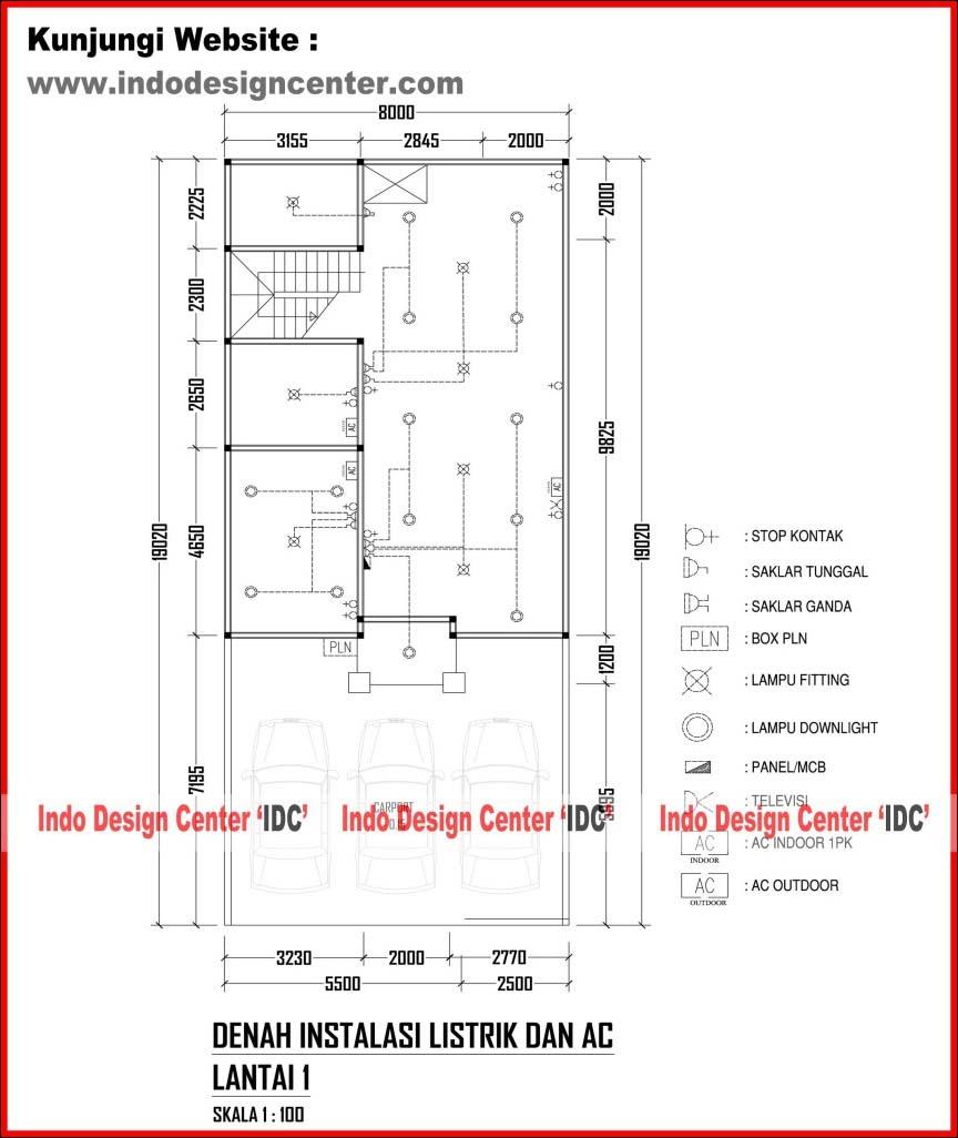 Paket Jasa Desain Arsitek: 024.Denah Instalasi Listrik Dan AC Lantai 1