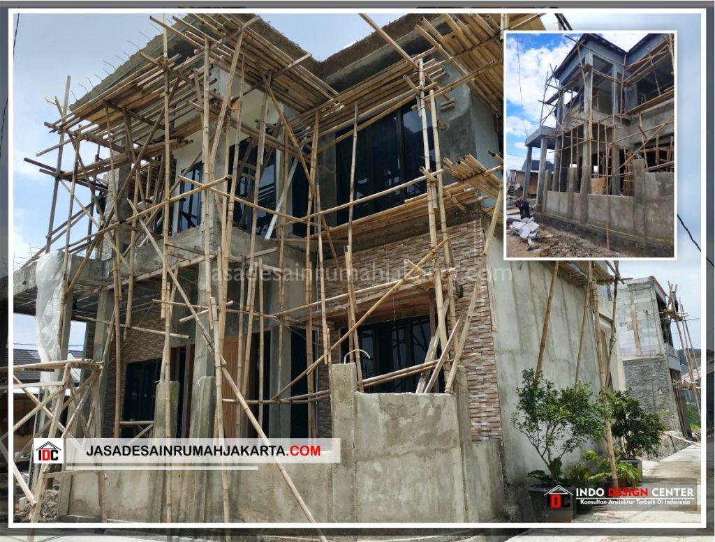 Tampak Depan Rumah Bu Cahya - Arsitek Gambar Desain Rumah Klasik Modern Di Bekasi-Jakarta-Surabaya-Tangerang-Bandung-Jasa Konsultan Desain Arsitek Profesional 3
