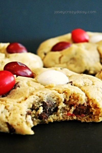 Cream Cheese Pudding Cookies With Red Velvet M&Ms