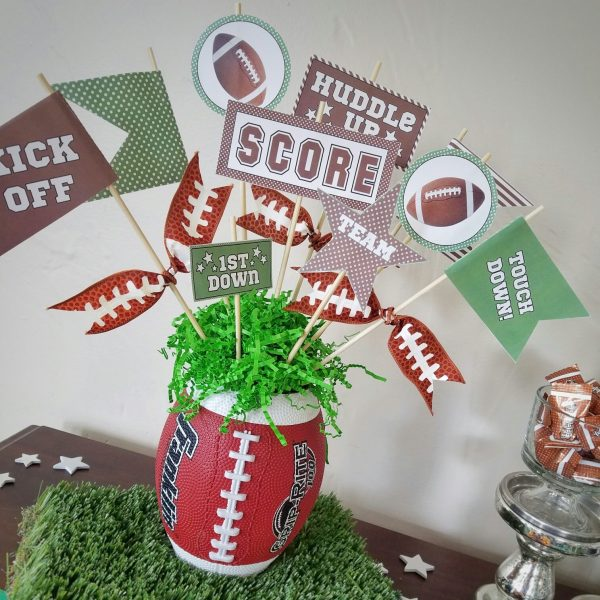 Green and Brown Football Pennants