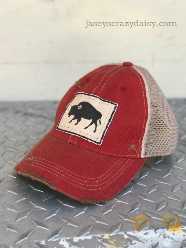 distressed daisy buffalo hat