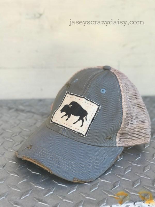 distressed buffalo hat
