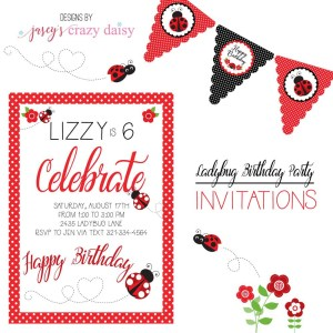 Ladybug Printable Birthday Invitation