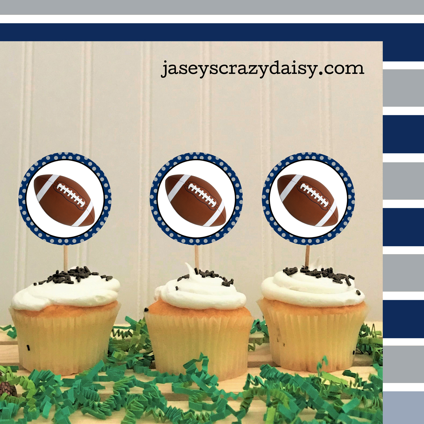 picture relating to Printable Cupcakes Toppers named Do-it-yourself Printable Blue and Silver Soccer Cupcake Toppers - Prompt Down load - Jaseys Ridiculous Daisy