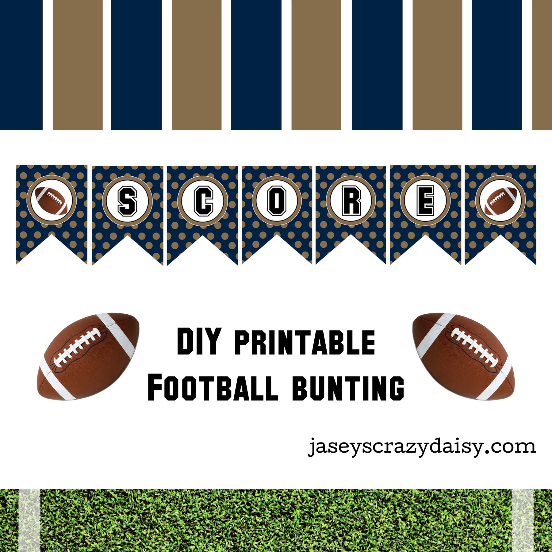 graphic relating to Printable Football referred to as Do-it-yourself Printable Rating Armed service and Gold Soccer Bunting- Immediate Obtain - Jaseys Ridiculous Daisy