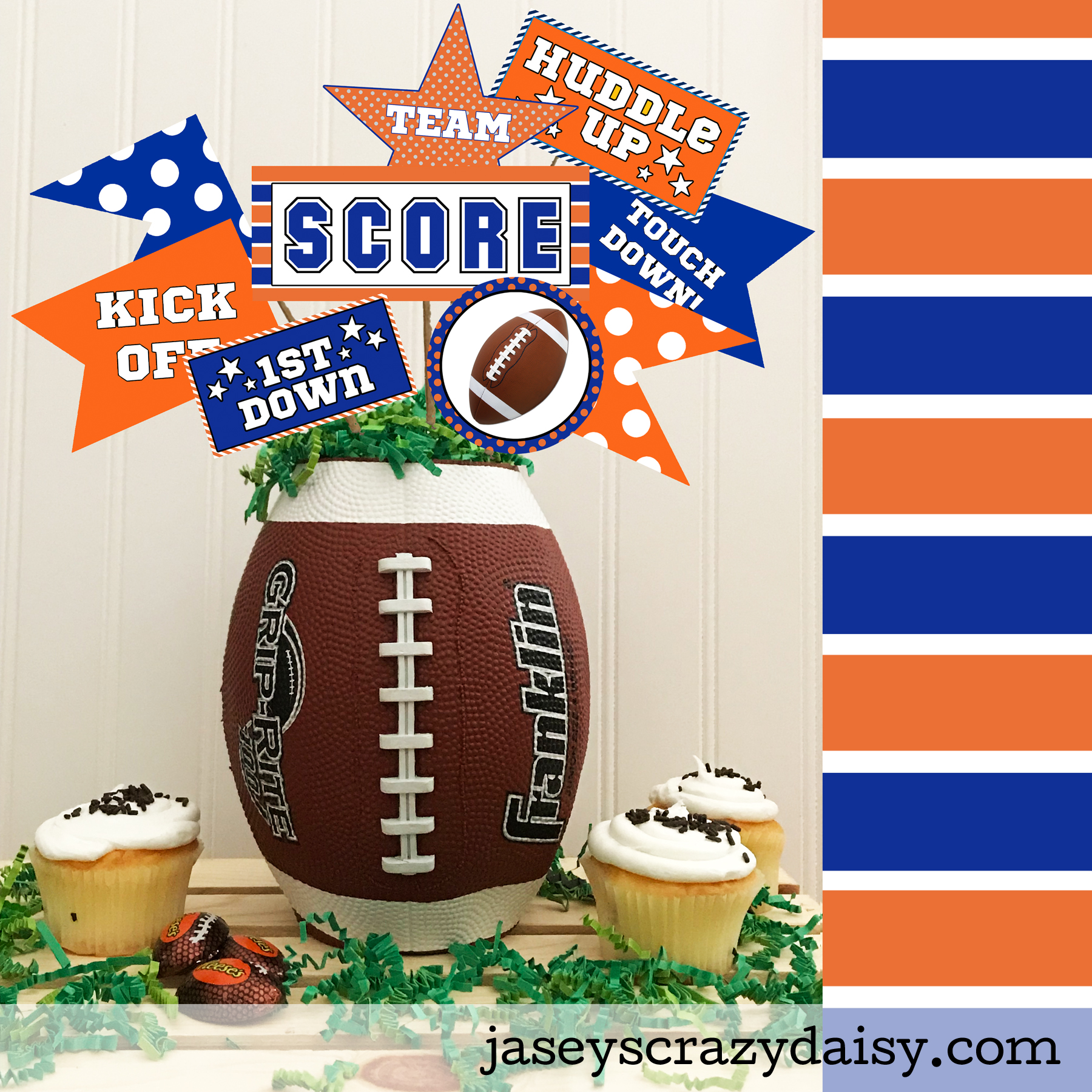 image regarding Printable Pennants titled Do it yourself Blue and Orange Printable Soccer Pennants - Instantaneous Obtain - Jaseys Nuts Daisy