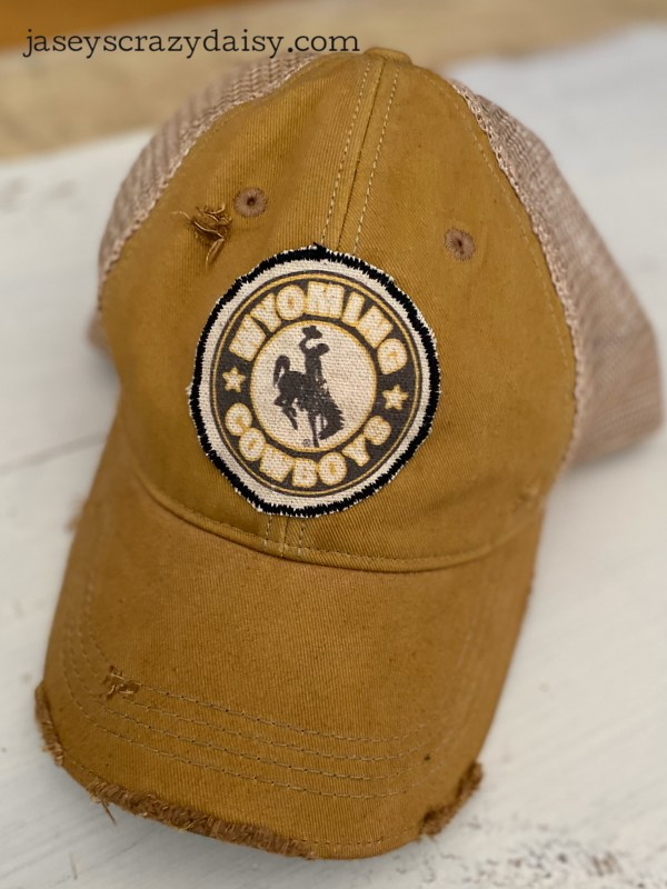 Gold Wyoming Cowboys Circle Patch Hat
