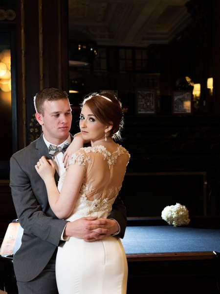 Fashion wedding photograph of the bride and groom in blackstone hotel in Chicago