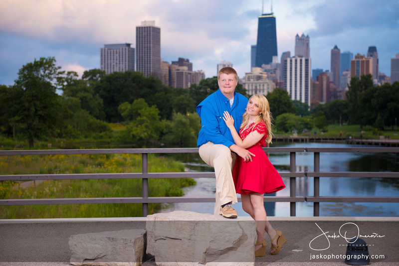 Engaged Couple Posing For The Engagement Session Photo In Lincoln Park Chicago
