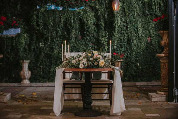 sweetheart table details for galleria marchetti wedding