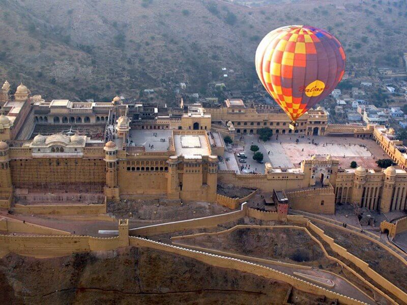 Aerial of Amer Fort Jaipur from a balloon photo credit skywaltz
