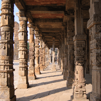 Value for money Travel to India with Jasmine Trails. In the Image is the cloisters of the Qutab Minar in New Delhi India.