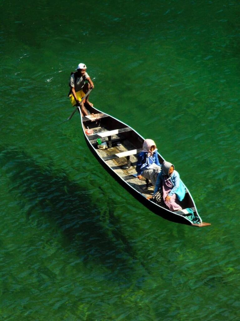Crystal clear waters of the Umngot River at Dawki in Meghalaya