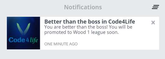 Code 4 Life - About to be Promoted To Wood League 1