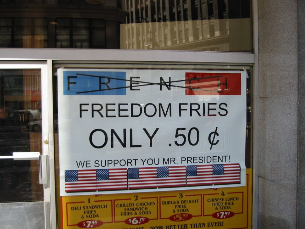 A sign for freedom fries in support of President Bush